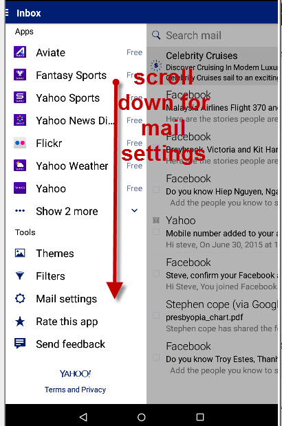 Yahoo-android-mail-settings