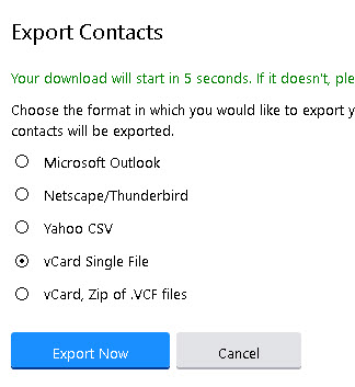 Yahoo-export-vcard-contacts