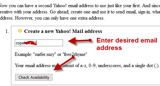 yahoo change email number